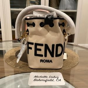 NEW Fendi Mini Mon Tresor White Canvas Bucket Bag